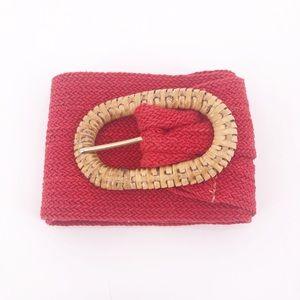 Vintage Red Woven Belt & Wicker Buckle